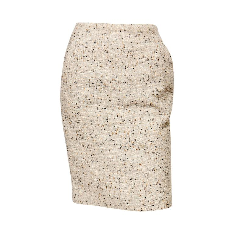 Chanel Camel Tweed and Lurex Skirt 1
