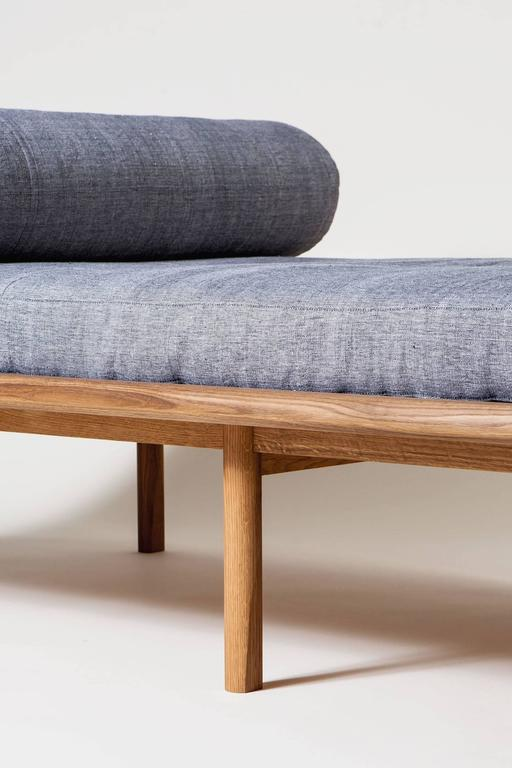 North American Sylvia Daybed by Coil + Drift in White Oak & Brass, Upholstered in Kufri Fabric For Sale