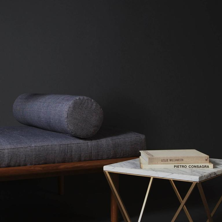 Contemporary Sylvia Daybed by Coil + Drift in White Oak & Brass, Upholstered in Kufri Fabric For Sale