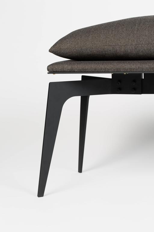 With the same lightweight feel found throughout the PRONG series, this bench floating atop tall legs is available in black steel or all brass and all copper bases.  Universally fit for living spaces, entry ways or at the foot of a bed, the elegant