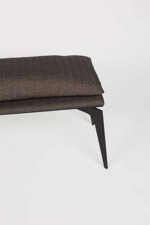 Canadian  in Matte Steel or Metallic finishes with Herringbone Upholstery For Sale