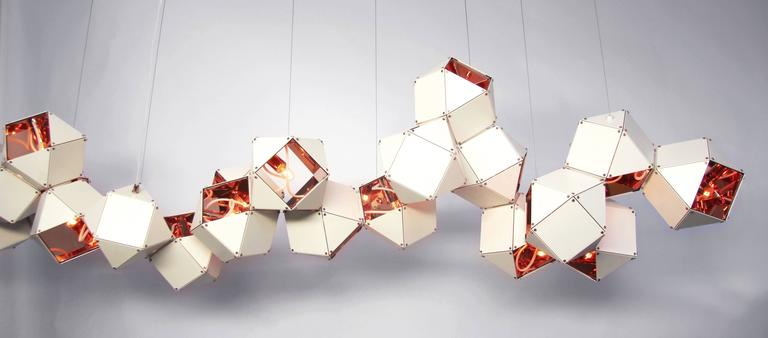 Canadian Welles Long Modular Chandelier in White Steel and Satin Copper, Brass and Nickel For Sale