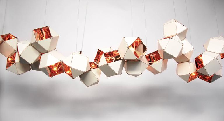 Blackened Welles Long Modular Chandelier in White Steel and Satin Copper, Brass and Nickel For Sale