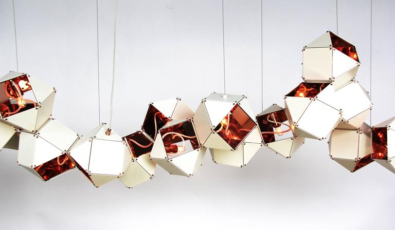 Contemporary Welles Long Modular Chandelier in White Steel and Satin Copper, Brass and Nickel For Sale