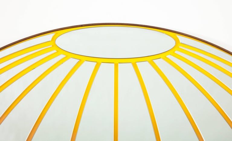 Atlas Mirror by Bower & Seth Rogen, Mirrored Glass, Enamel Paint, and Walnut In New Condition For Sale In New York, NY