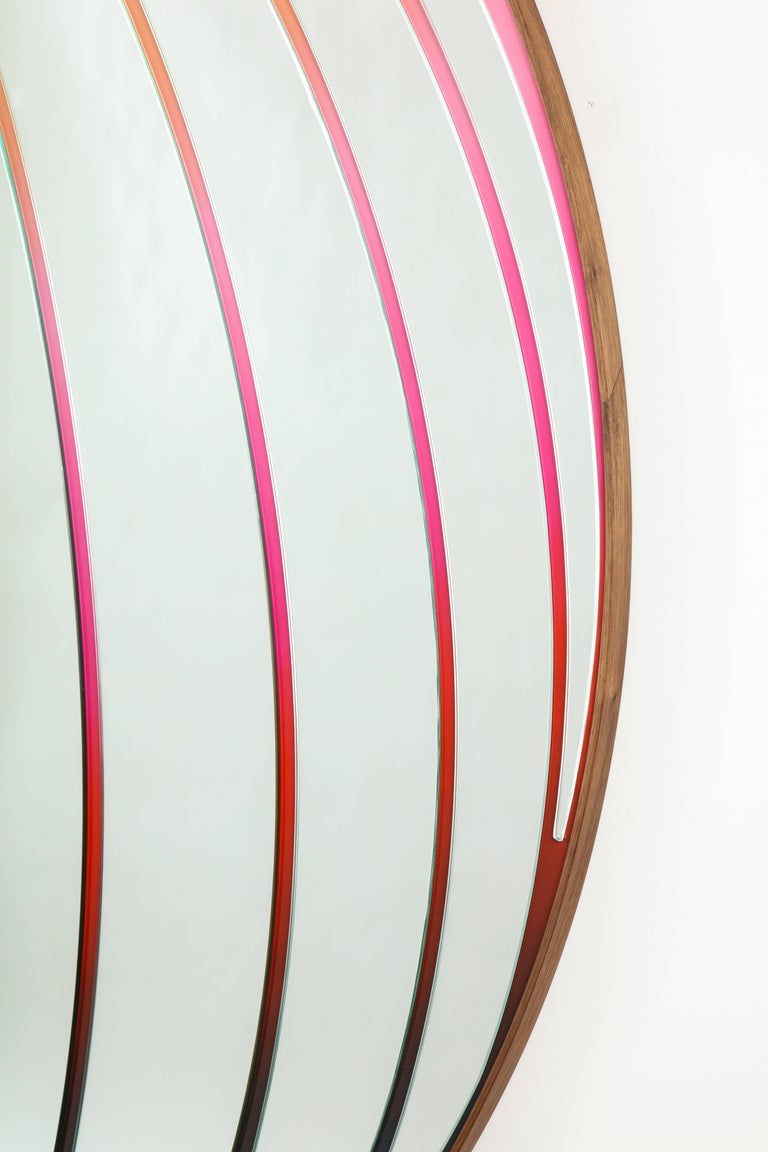 Atlas Mirror by Bower & Seth Rogen, Mirrored Glass, Enamel Paint, and Walnut For Sale 2
