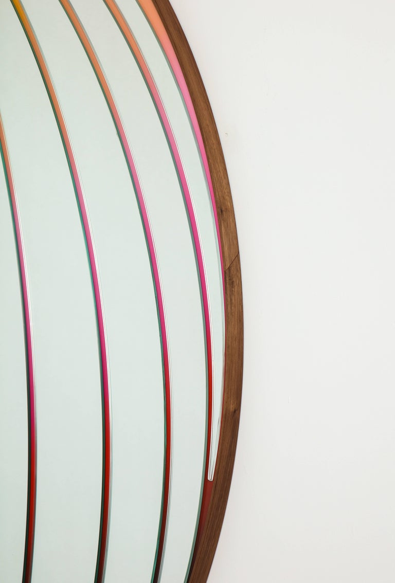 Atlas Mirror by Bower & Seth Rogen, Mirrored Glass, Enamel Paint, and Walnut For Sale 5