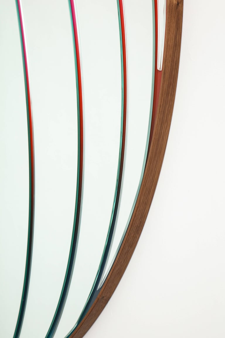 Atlas Mirror by Bower & Seth Rogen, Mirrored Glass, Enamel Paint, and Walnut For Sale 6