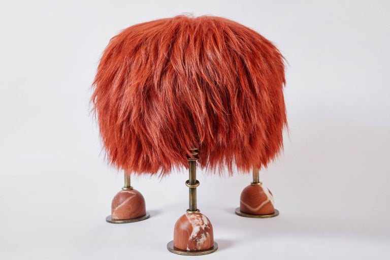 Modern Rebelle Goat Hair, Brass and Marble Ottoman by Kelly Wearstler and Aimee Song For Sale
