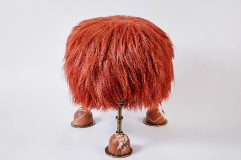 American Rebelle Goat Hair, Brass and Marble Ottoman by Kelly Wearstler and Aimee Song For Sale