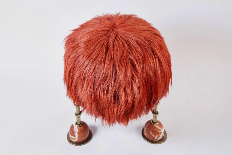 Contemporary Rebelle Goat Hair, Brass and Marble Ottoman by Kelly Wearstler and Aimee Song For Sale