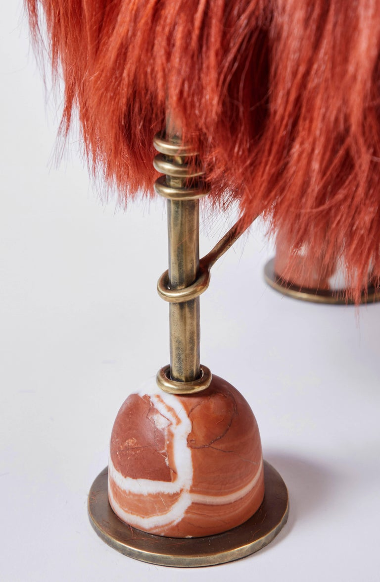 Rebelle Goat Hair, Brass and Marble Ottoman by Kelly Wearstler and Aimee Song For Sale 2