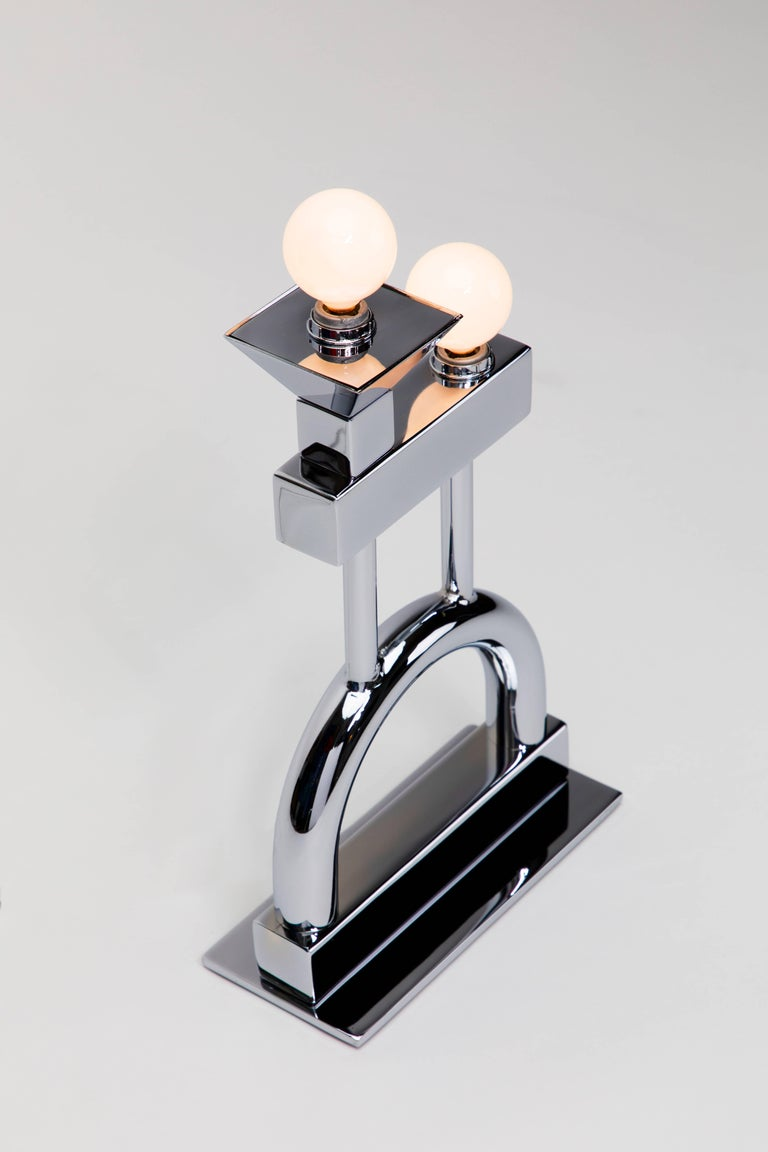 Contemporary Dorothy Table Lamp in Chrome by Another Human, Modern Sculptural Light For Sale