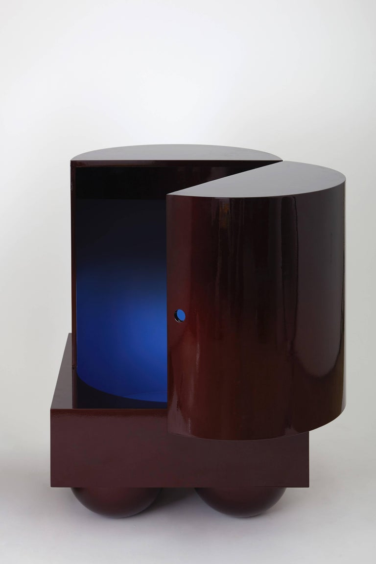 Set No.5 Side or Coffee Table by Müsing–Sellés Carved Wood Metallic Lacquer In New Condition For Sale In New York, NY