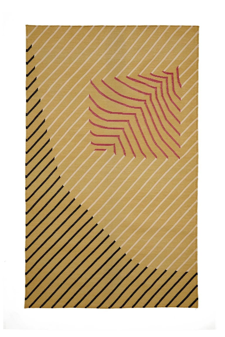 Indian Eulerian No. 1 Rug or Carpet by Tantuvi Modern in Pink & Black Handwoven Cotton For Sale