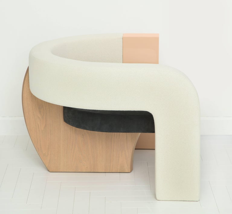Modern PnKrck Armchair by Kelly Behun & Narciso Rodriguez in Linen Suede, Lacquered Oak For Sale