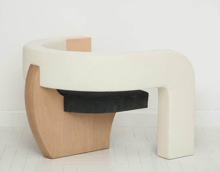 American PnKrck Armchair by Kelly Behun & Narciso Rodriguez in Linen Suede, Lacquered Oak For Sale