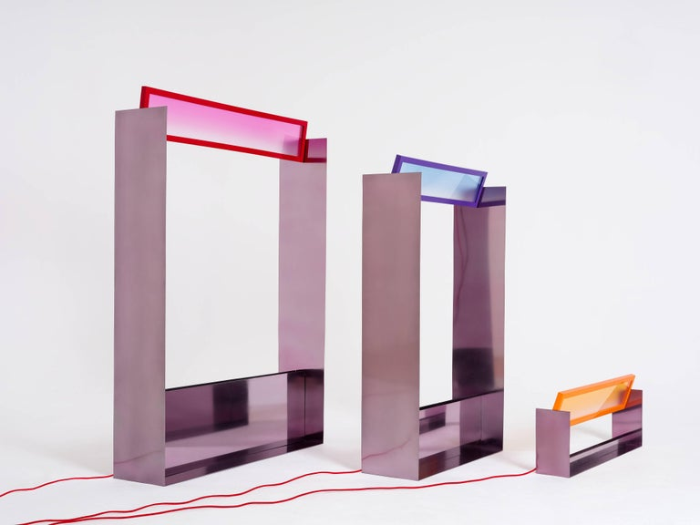 Modern Liquid Collusion Medium Light Sculpture by Liam Gillick & Harry Nuriev in Blue For Sale