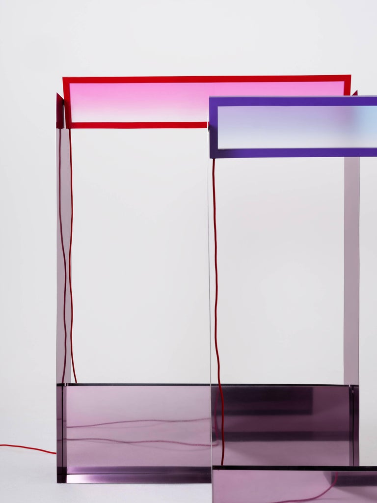 Steel Liquid Collusion Medium Light Sculpture by Liam Gillick & Harry Nuriev in Blue For Sale