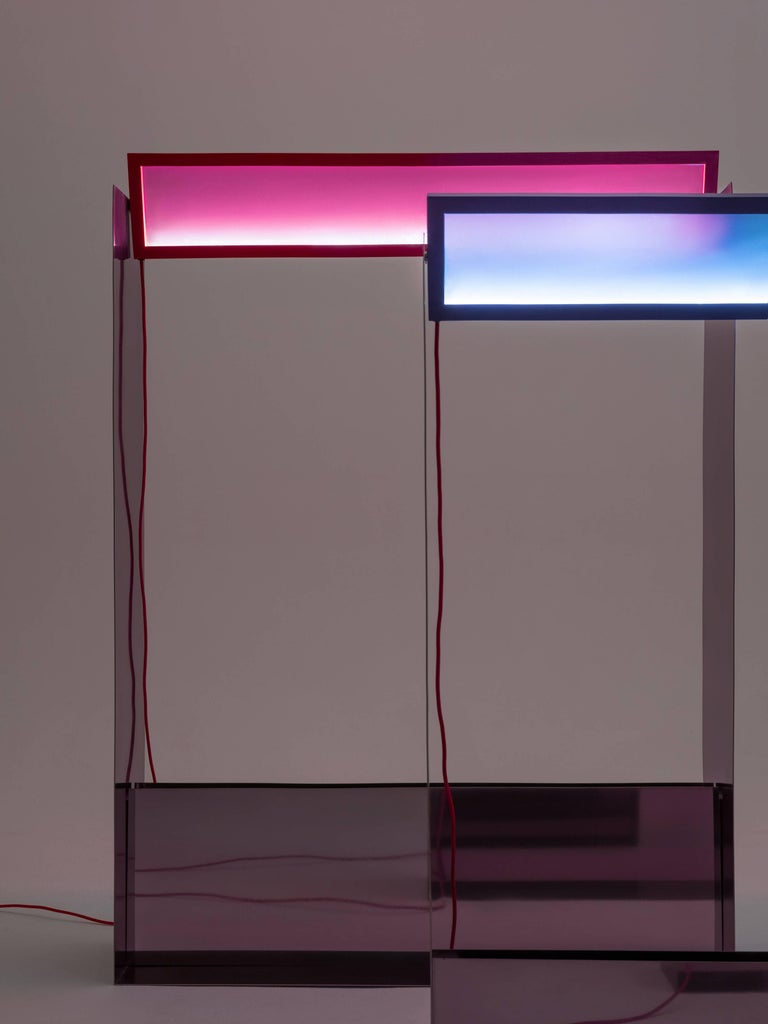 Liquid Collusion Medium Light Sculpture by Liam Gillick & Harry Nuriev in Blue For Sale 1