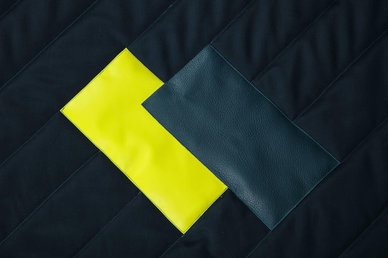 American Three Quilt Collection Leather and Wool by Rafael De Cardenas & Mel Ottenberg  For Sale