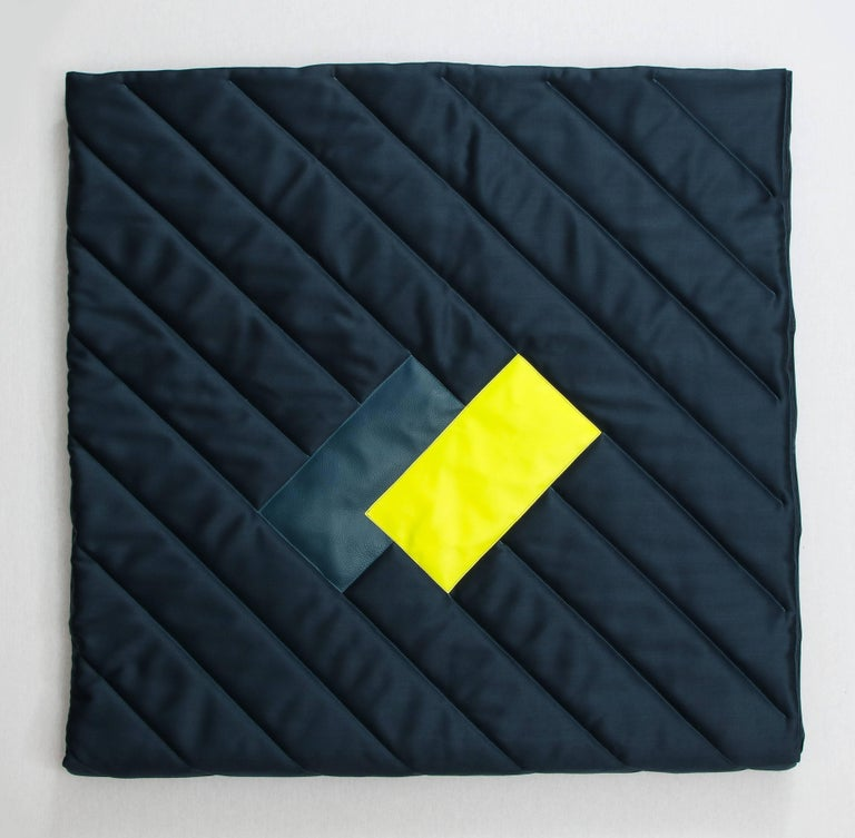 Contemporary Three Quilt Collection Leather and Wool by Rafael De Cardenas & Mel Ottenberg  For Sale