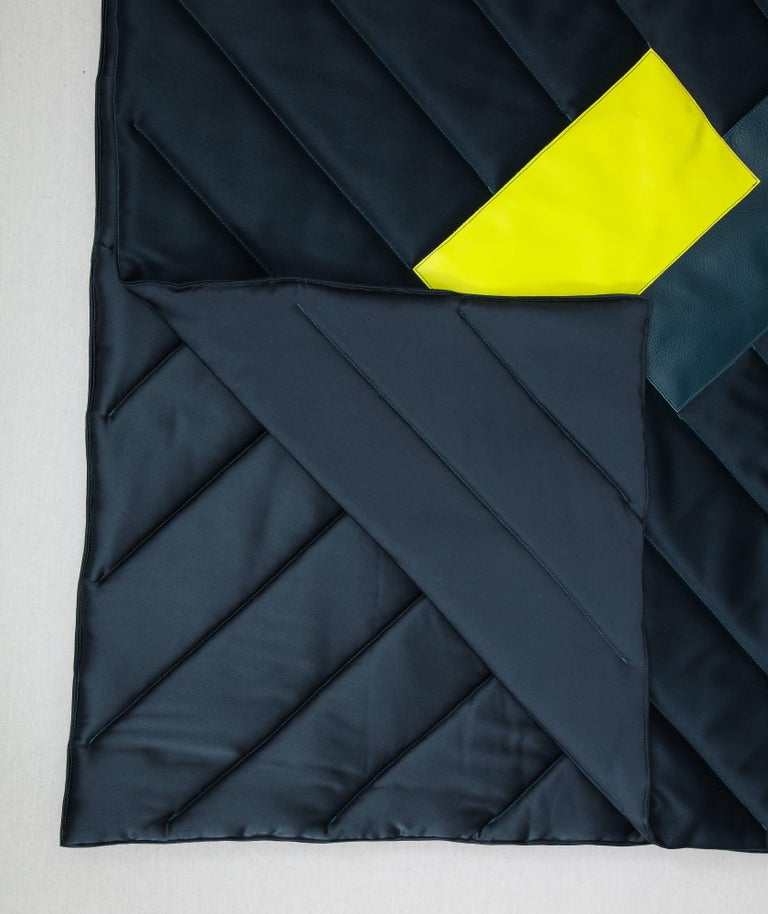 Modern Three Quilt Collection Leather and Wool by Rafael De Cardenas & Mel Ottenberg  For Sale