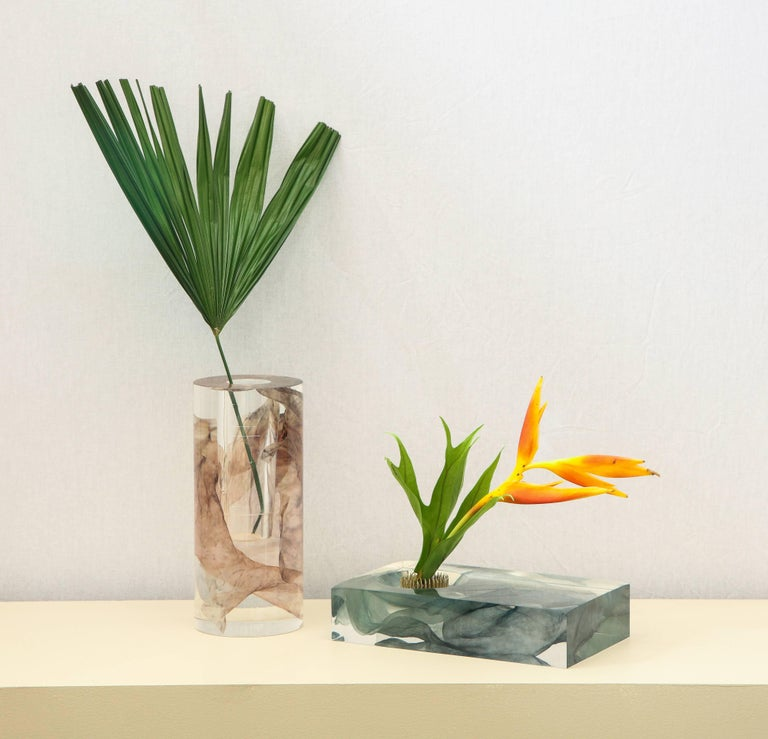 SAP Ikebana Vase No.01 by Ladies & Gentlemen Studio & Kaarem in Blue Silk For Sale 2