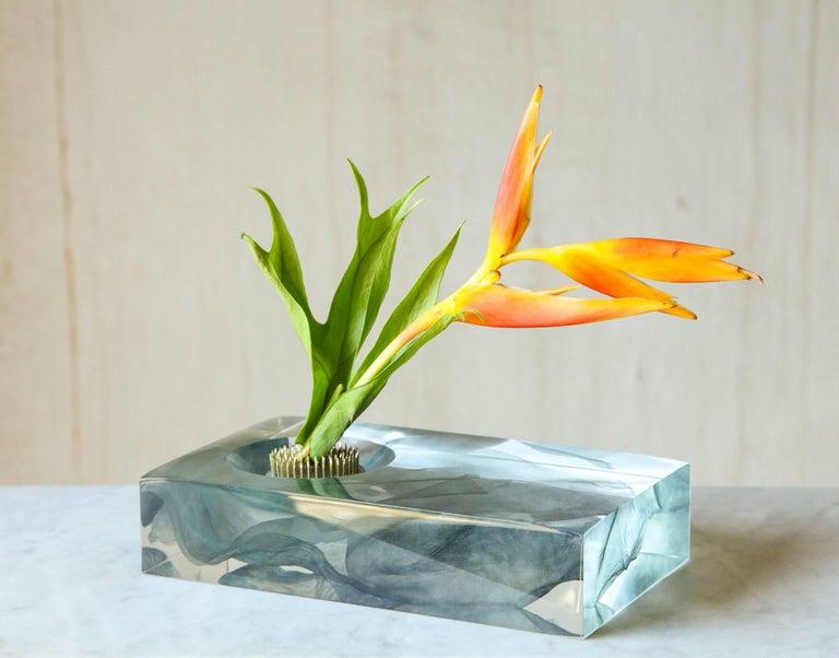 Contemporary SAP Ikebana Vase No.01 by Ladies & Gentlemen Studio & Kaarem in Blue Silk For Sale