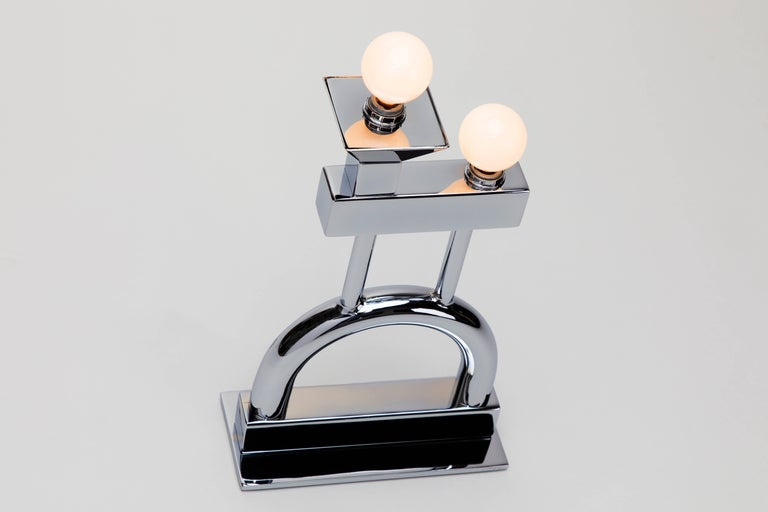 Sophia Table Lamp in Chrome by Another Human, Modern Sculptural Light For Sale 3