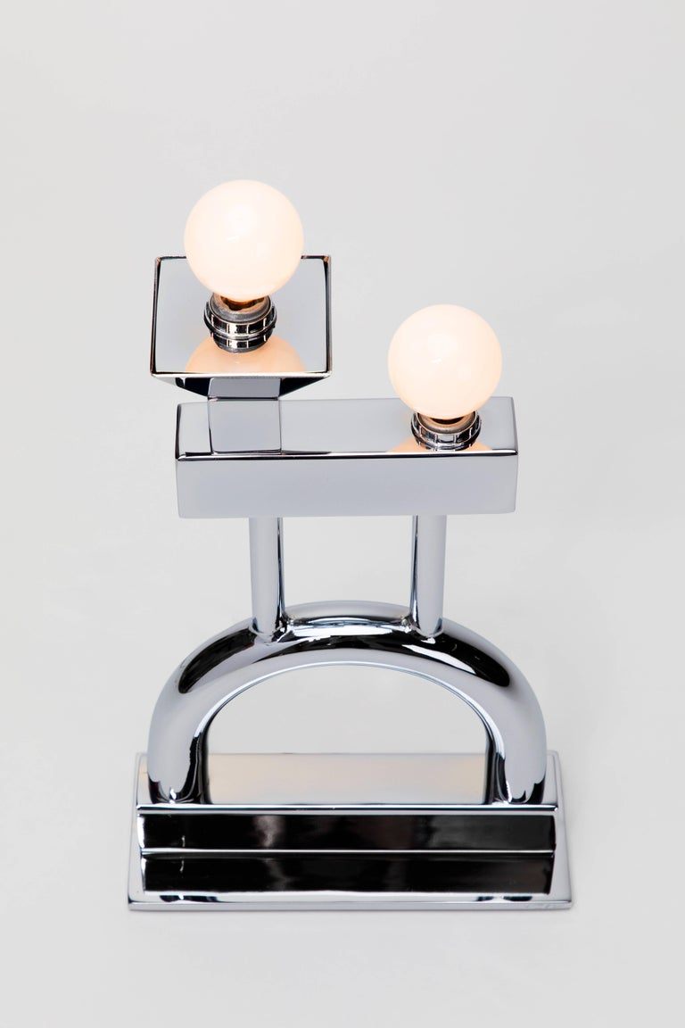 Sophia Table Lamp in Chrome by Another Human, Modern Sculptural Light For Sale 4