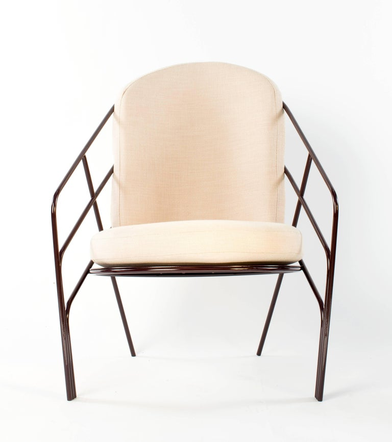 DeMille Indoor Outdoor Lounge Chair in Black Red Steel with Blush Cushion In New Condition For Sale In New York, NY