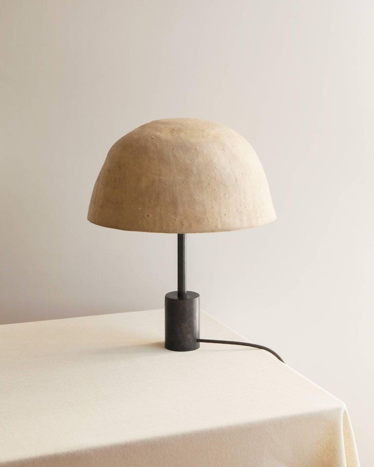 Pyramid Table or Desk Lamp in Blackened Steel, Shiga Stoneware & Feldspar Modern For Sale 2