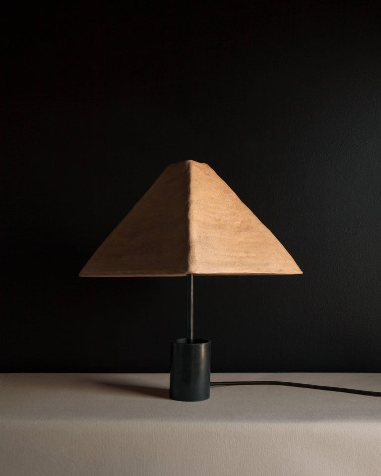 American Dome Table or Desk Lamp in Blackened Steel, Shiga Stoneware & Feldspar Modern For Sale