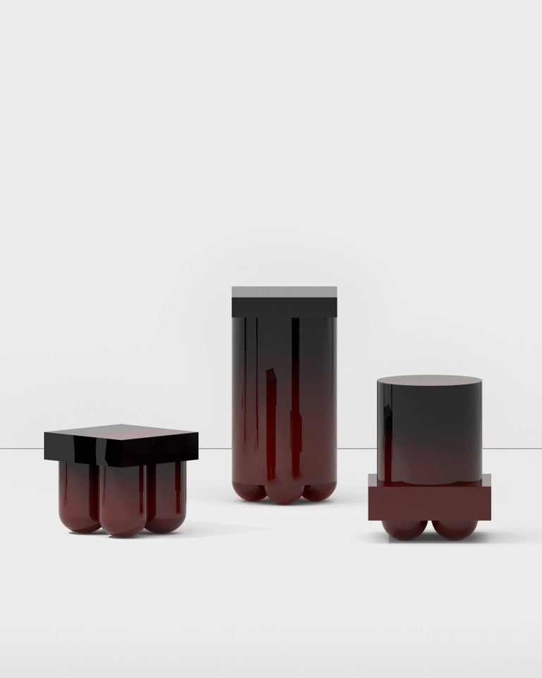 North American Set No.5 Mini Bar by Müsing–Sellés Carved Wood and Metallic Paint Modern For Sale