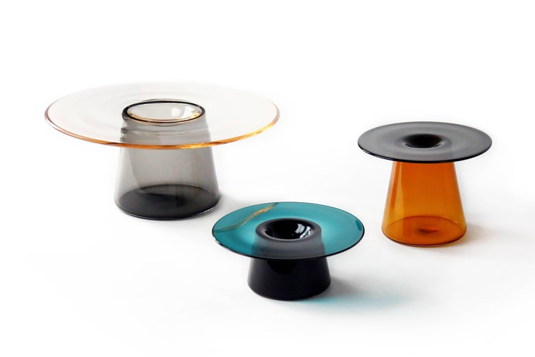 Minimalist Nina Cho Tabletop Object in Grey and Amber Handmade Glass For Sale