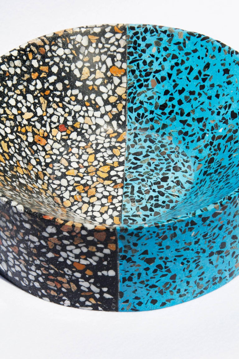 Mexican Mita Mita Tall by Stromboli Associates in Teal and Black Terrazo Modern For Sale