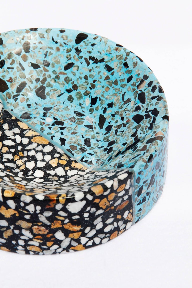Mexican Mita Mita Small by Stromboli Associates in Teal and Black Terrazo Modern For Sale