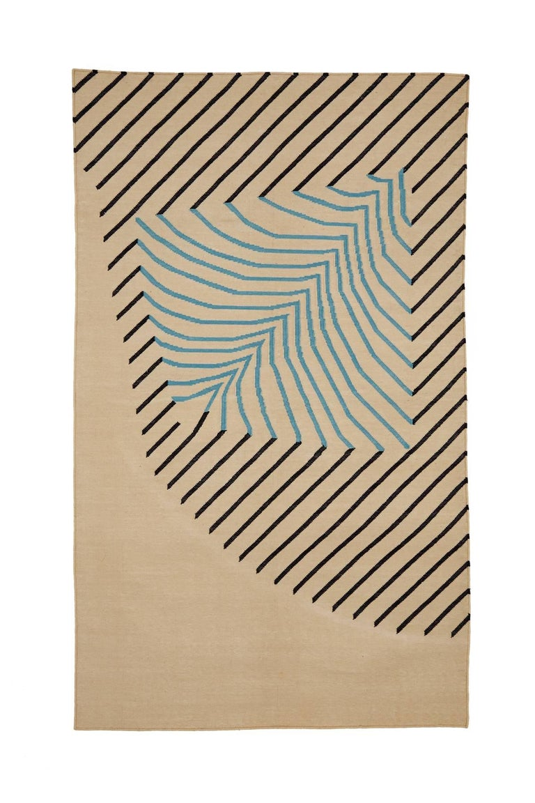 Hand-Woven Eulerian No 2 Rug or Carpet Tantuvi Modern in Red Teal Natural Handwoven Cotton For Sale