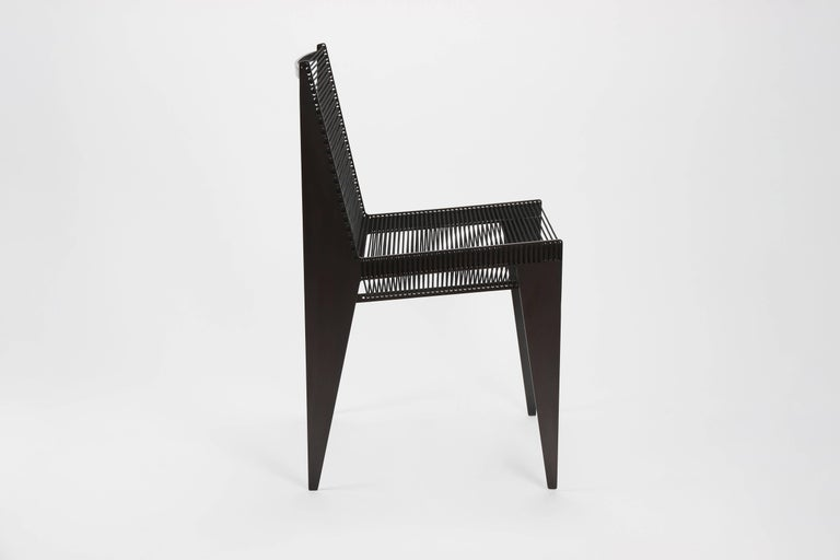 Minimalist Icon Chair in Steel and Rope by Christopher Kreiling, Contemporary For Sale
