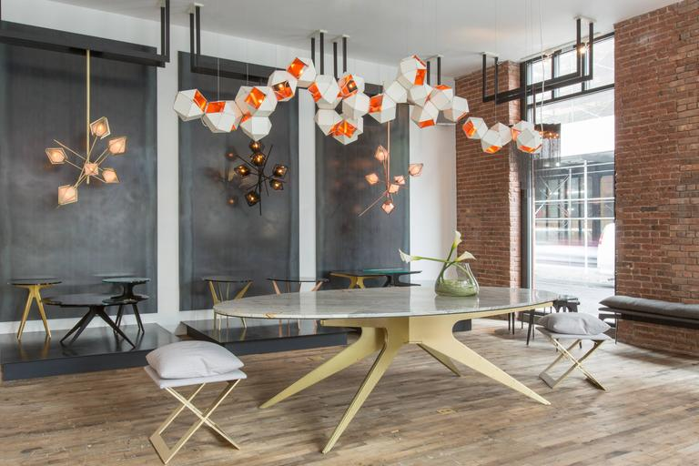 Welles Long Modular Chandelier in White Steel and Satin Copper, Brass and Nickel For Sale 3