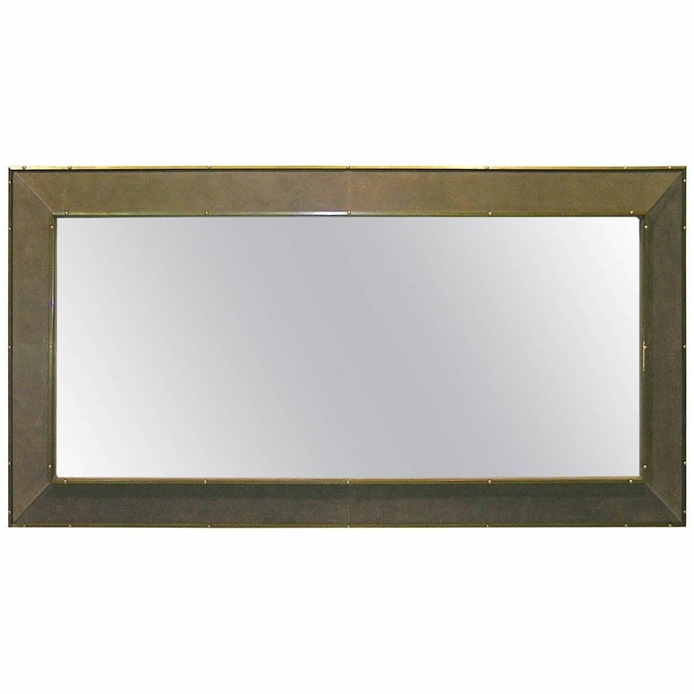 1970s Italian Suede Leather Floor Mirror with Modern Bronze Accents