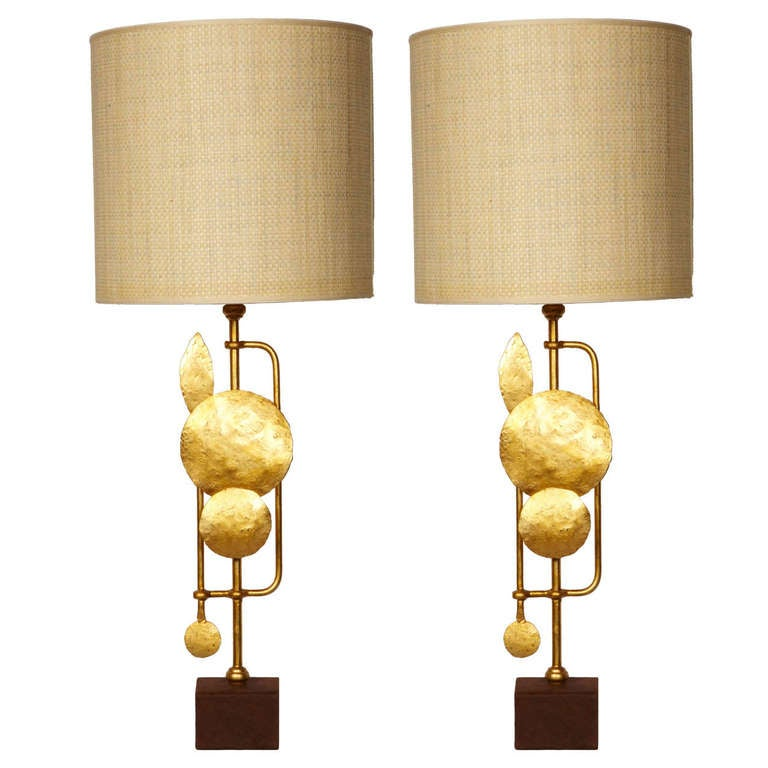 Pair Of Brutalist Table Lamps