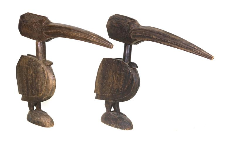 Unknown Gorgeous Huge Pair Wood Carved Bird Sculptures For Sale