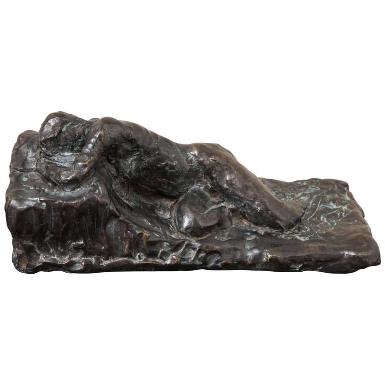 Nude Woman delicately reclining in cast bronze with brown patina on plexiglass base. One-of-a-kind sculpture. Unique and rare. Gods of Small Things. Piece of Art is signed by the Artist.