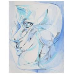 """Cubist Painting """"Wolf """" by Alfonso Muñoz"""