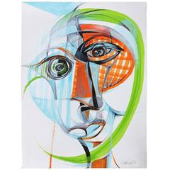"Cubist Painting ""Estudio de cabeza multidimensional"" by Alfonso Munoz"