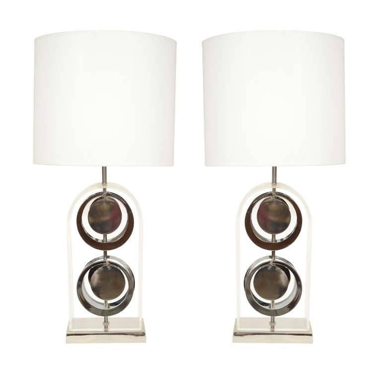 Pair of Chrome and Acrylic Lamps by Laurel For Sale