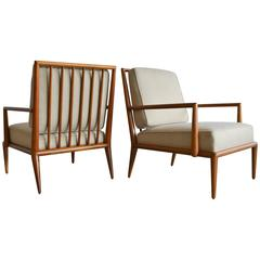 Pair of T.H. Robsjohn-Gibbings Spindle Back Lounge Chairs and Ottoman