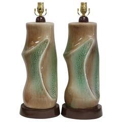 Pair of Ceramic Brown and Green Lamps